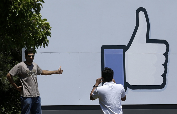 "An image of the ""Like"" button at the entrance to the Facebook campus in Menlo Park, California"