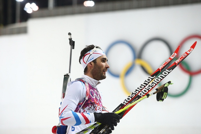 French biathlete Martin Fourcade after finishing first