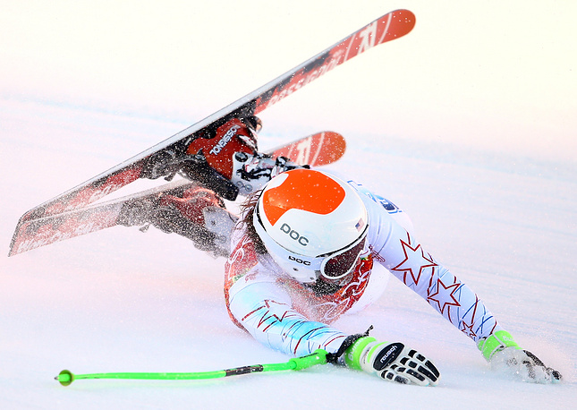 Stacey Cook of USA falls during the Women's Super G Alpine Skiing event