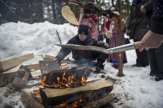 During the week of Maslenitsa, meat is already forbidden to Orthodox Christians, but  milk, cheese and other dairy products are still permitted