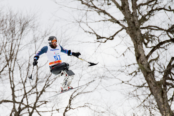 Heath Calhoun of Great Britain in action during the Men's Super G - Sitting