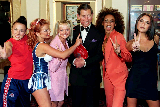 The Spice Girls were extremely popular in the 1990's, over 55 mln albums were sold. Photo: Prince Charles and the Spice Girls