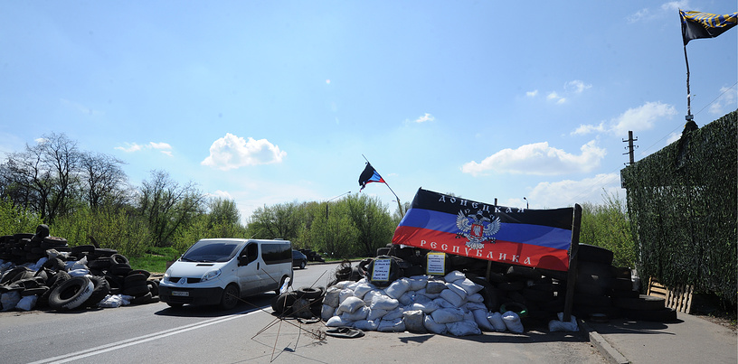 A checkpoint in Kramatorsk