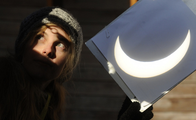 Partial solar eclipse visible in a projection shield at the Stefanik Observatory in Prague in 2011