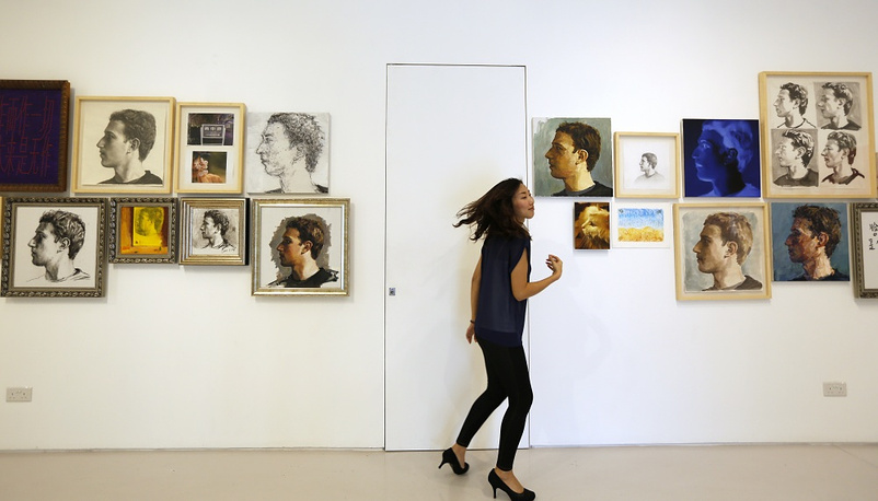 Exhibition titled 'The Face of Facebook' by Chinese artist Zhu Jia at the ShanghART gallery in Singapore