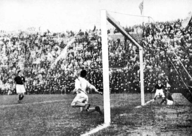 In 1934, the World Cup took place in Italy. The host became world champions beating  Czechoslovakia 2–1 in the extra time in the final. Photo: Italian forward Schiavio scores the winning goal