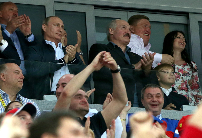 Presidents of Russia and Belarus attended the match. Photo: Vladimir Putin and Alexander Lukashenko