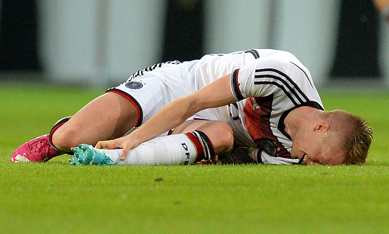 Germany's Marco Reus was injured during the international friendly soccer match between Germany and Armenia. The midfielder won't be able to help his team in Brazil