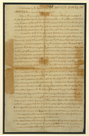 Page one of the US Declaration of Independence