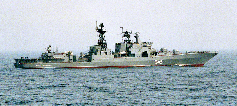 Udaloy-class destroyer Marshal Shaposhnikov carries two Ka-27 helicopters and is armed withanti submarine missiles, surface to air missiles, 100 mm guns, 30 mm Gatling guns, torpedos and the Kashtan naval air defence gun-missile system