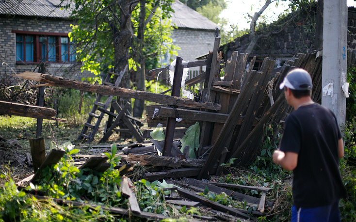 Consequences of Ukrainian army shelling the town of Horlivka near Donetsk