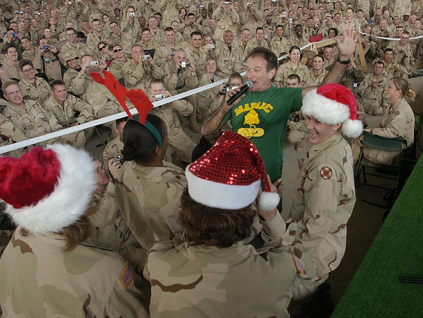 Robin Williams during a visit to an American military base in Iraq in 2003