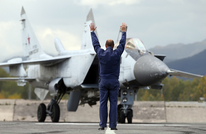 MiG-31 supersonic interceptor aircraft seen during the drills