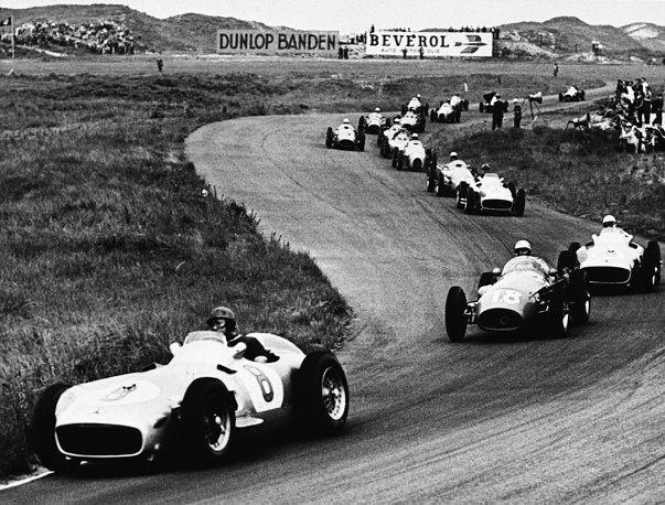 Competing in a Formula One race has always been associated with danger as the early car designs offered little in the way of protection. Photo: Circuit Park Zandvoort, the Netherlands, June 19, 1955. The circuit gained popularity because of its fast, sweeping corners