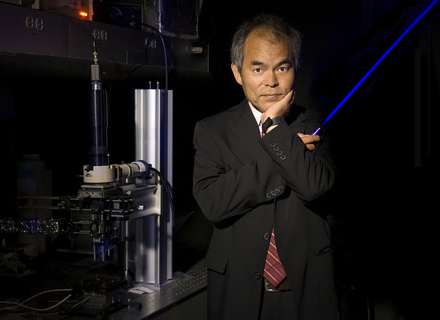 Photo: professor Shuji Nakamura with a Blue Laser-LED, Santa Barbara, California, USA, 07 October 2014