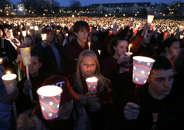 Candlelight vigil following the shootings on the Virginia Tech campus