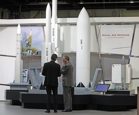 Photo: A display of naval air missiles made by French company MBDA