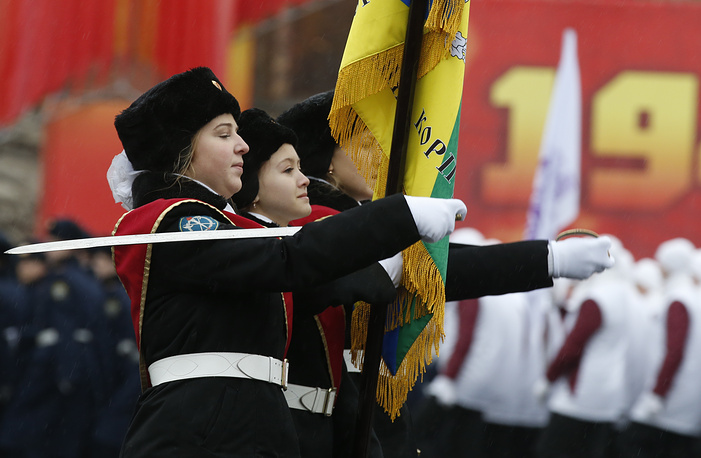 Photo: Cadets march during a military parade in Red Square
