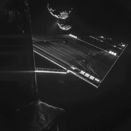 "Rosetta spacecraft's ""selfie"" with comet 67P/Churyumov–Gerasimenko made from a distance of about 16 km from the surface of the comet"