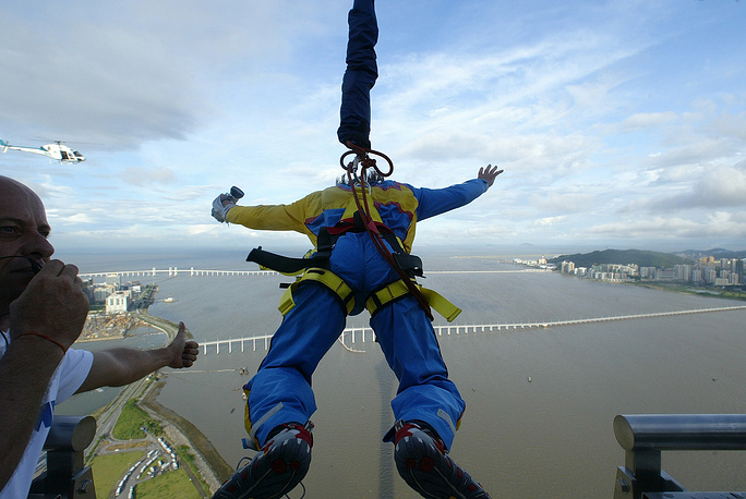 At 233 meters, the Macau Tower's skyjump is the second highest commercial in the world