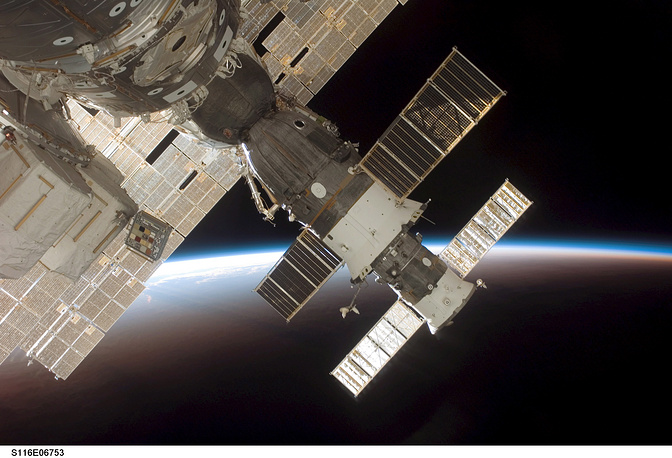 The ownership and use of the space station is established by intergovernmental treaties and agreements. Photo: Docked Soyuz 13 (TMA-9) and Progress 22 resupply vehicle, 2006