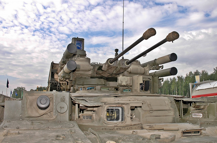 BMPT Terminator is an armored fighting vehicle (AFV) designed to protect and support tanks and other AFVs in urban areas.  It is built on the chassis of T-72 tank which is used in large numbers by the Russian Army and has been manufactured under license by many other countries