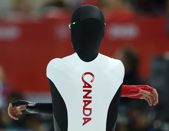 Canadian speed skater Lukas Makowsky after a 1,500m race at the Sochi Olympics