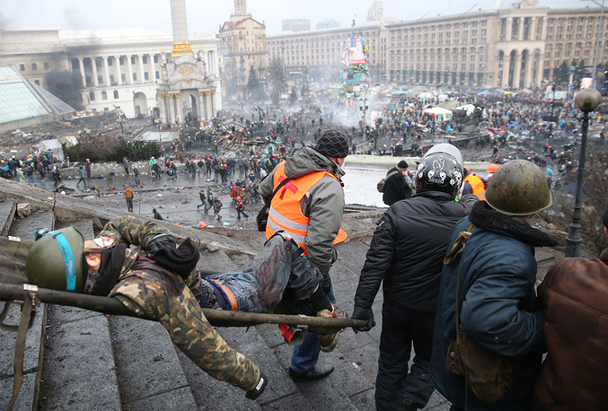 Man injured in street riots in Kiev
