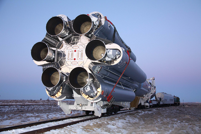 All Protons are built at the Khrunichev plant in Moscow. The latest version is the Proton M, which can place up to 22 tonnes in low Earth orbit. Photo: Proton-M rocket being transported to the launch pad at Baikonur Cosmodrome, Kazakhstan