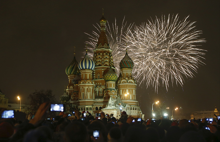 Fireworks explode over the St. Basil Cathedral at the Red Square, Moscow