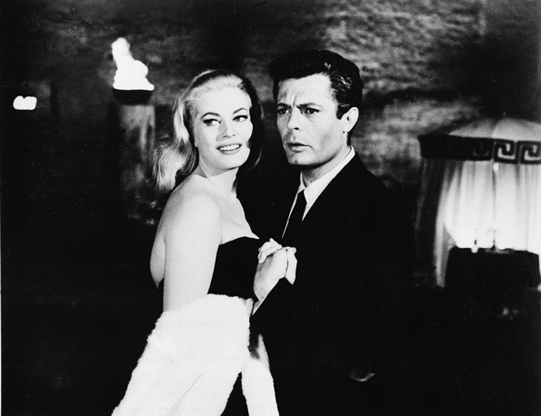 Italian actress Anita Ekberg and Marcello Mastroianni in Fellini's 1960 film La Dolce Vita which received Palme d'Or at Festival de Cannes