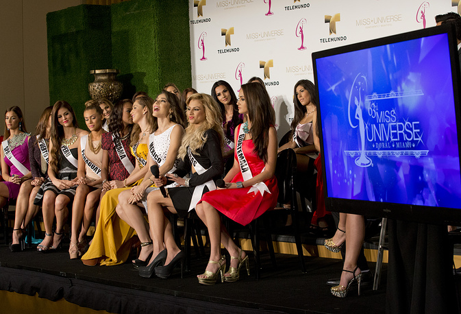 Miss Universe contestants during a news conference