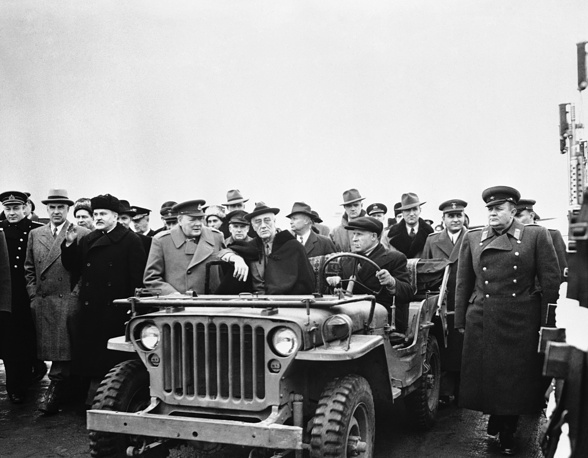US President Franklin D. Roosevelt sitting in a jeep, Winston Churchill and V.M. Molotov February, 1945, Yalta