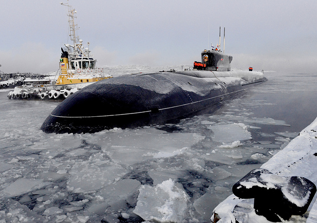 Advances include a compact and integrated hydrodynamically efficient hull for reduced broadband noise and the first ever use of pump-jet propulsion on a Russian nuclear submarine. Photo: Russia's third Borei-class nuclear-powered submarine Vladimir Monomakh