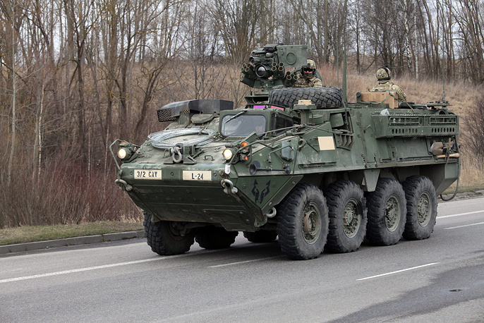 US Army armored vehicles in Poland, March 23, 2015
