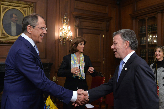 Moscow and Bogota also discussed possibilities of increasing export of Colombian goods to Russia, according to Colombian Foreign Ministry. Photo: Russian Foreign Minister Sergey Lavrov and Colombian President Juan Manuel Santos during their meeting in Bogota