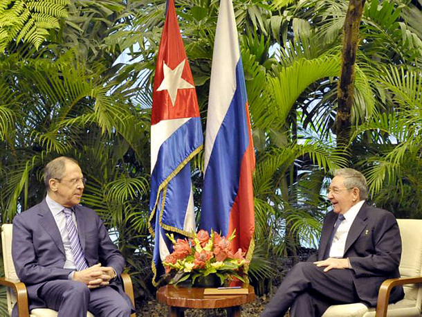 Lavrov's trip to Cuba came ahead of the 55th anniversary of the restoration of diplomatic relations between Russia and Cuba celebrated on May 8. Photo: President of Cuba, Raul Castro meeting with the Russian Foreign Minister, Sergei Lavrov in Havana