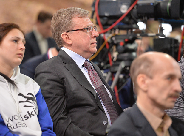 Prominent politicians and public figures gathered in a studio in downtown Moscow, where Putin answers questions pouring from all parts of the country. Photo: Russia's former finance minister, Civil Initiatives Committee chairman Alexei Kudrin
