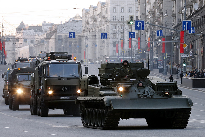 Military hardware in downtown Moscow during parade rehearsal