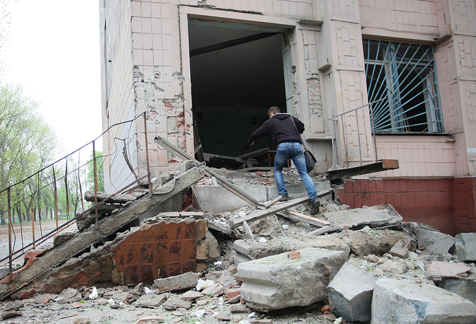 A school damaged during a shelling attack in Donetsk's Kievsky District