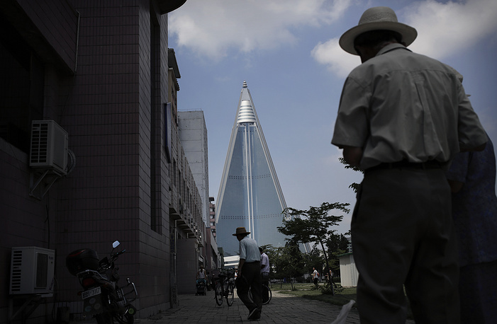 105-story pyramid-shaped Ryugyong Hotel is the tallest building in Pyongyang. Hotel's construction was finished in 2013