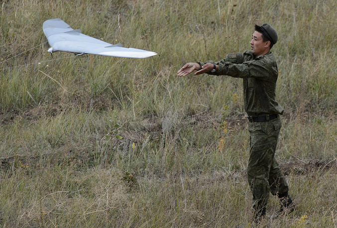 Launch of unmanned aerial vehicle during military exercise in Russia's Central Military District