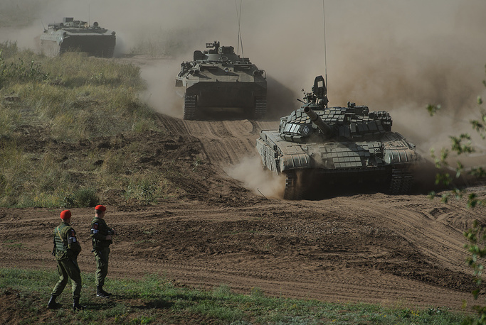 Motor convoy moving to the site of military exercise