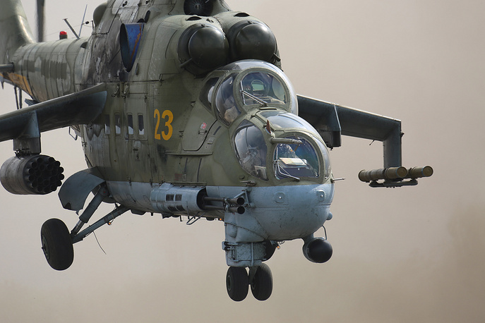 Mi-24 combat helicopter at the Hmeymim airbase