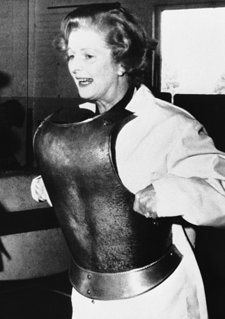 Thatcher was elected Member of Parliament in 1959. Photo: Britain's Conservative party leader, Margaret Thatcher trying out medieval armor, 1978