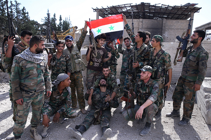 Syrian government's troops during a military operation in Harasta