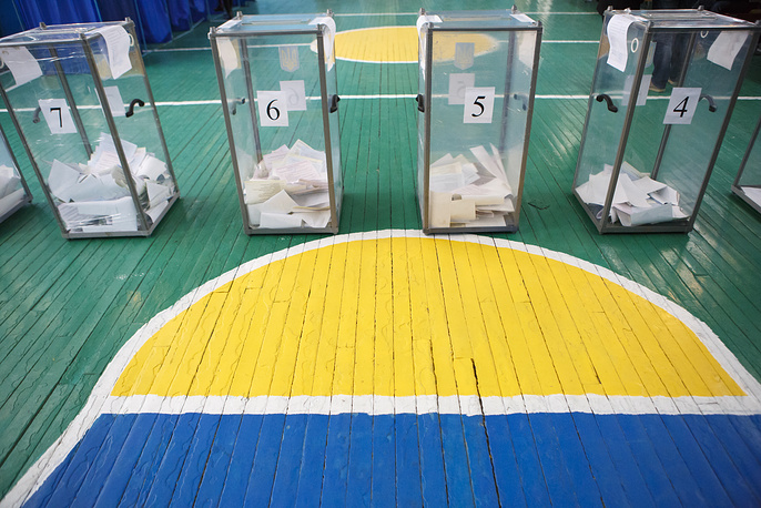 Ballot boxes at a polling station during local elections