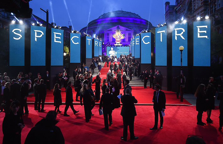 Guests walking the red carpet at the new James Bond film Spectre at the Royal Albert Hall in London
