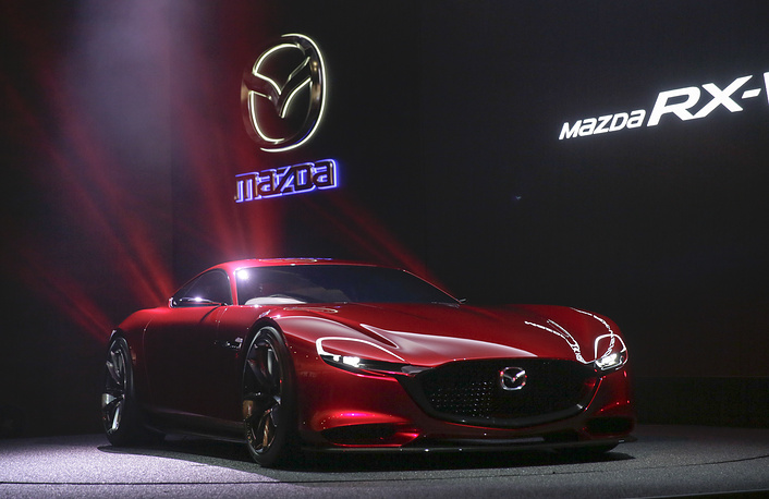 Mazda Motor Corp. unveiling its rotary-engine sports concept car Mazda RX-VISION