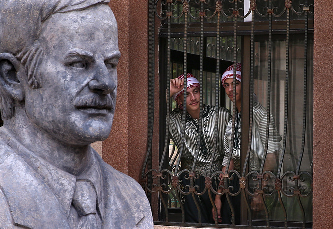A Hafez al-Assad bust in the yard of a school for orphans of Syrian Army officers who died during military operations